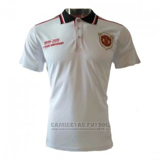 Camiseta Polo del Manchester United 20th Aniversario 2019-2020 Blanco
